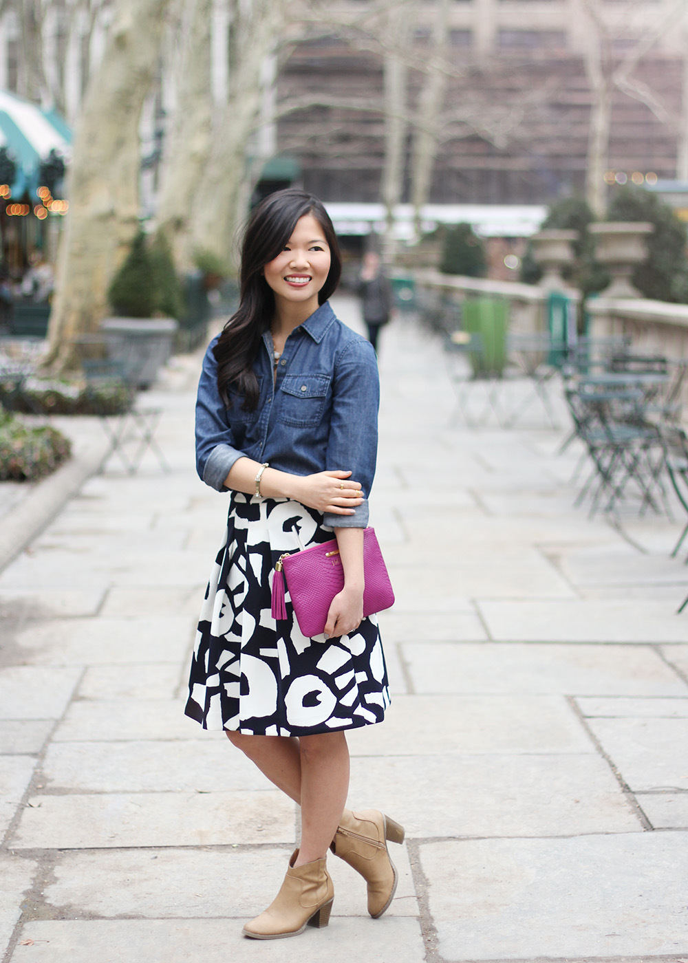 chambray shirt and skirt
