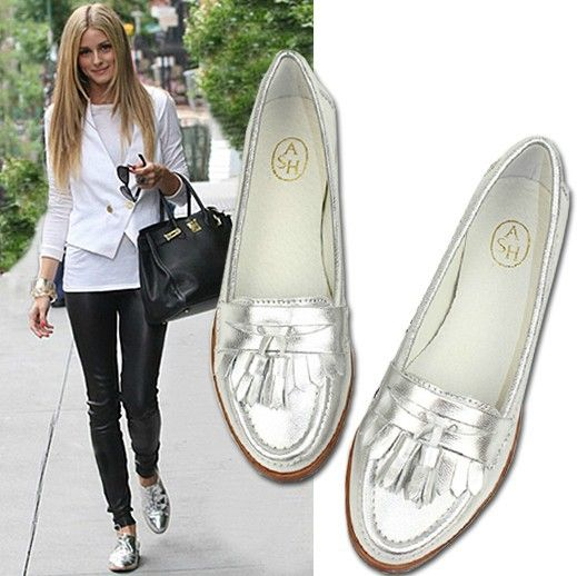 date night silver oxford flats