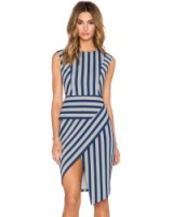 mason by michelle mason gray with blue asymmetric striped dress