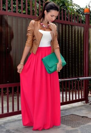 maxi dress with leather jacket in camel color