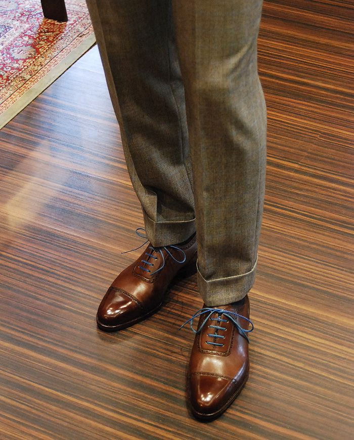 men's fall look tweed pants and blue lace oxfords