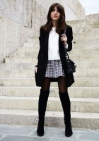 mini skirt long jacket black and white