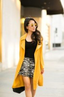mini skirt long jacket yellow