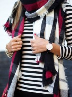 striped sweater plaid scarf