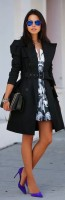 black trench coat and dress