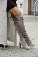 fall boots gray thigh high with black skirt