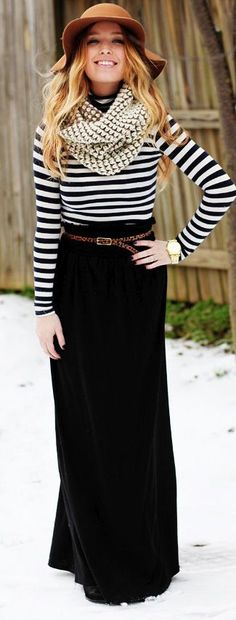fall outfit black maxi skirt and striped top