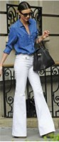 flared jeans in white with blue blouse