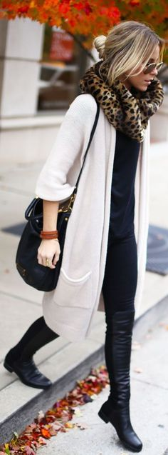 leggings and long sweater with scarf