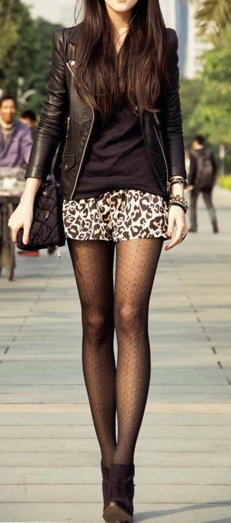 leopard shorts and tights
