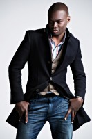 men's fall layers black coat and denim
