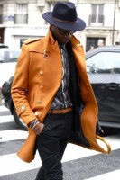 men's fall layers orange jacket and hat
