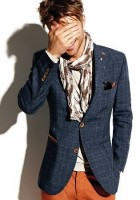 men's fall layers tweed jacket with burnt orange pants and scarf