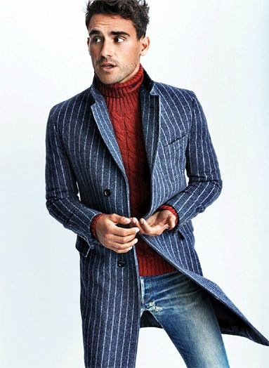 Men...What to wear to turn heads, denin, striped overcoat, turtleneck sweater