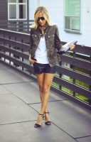 military jacket and leather shorts