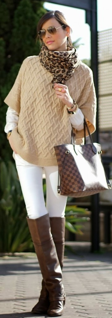 off white leggings and tauper sweater with animal print scarf