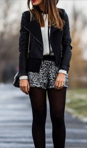 print shorts and black tights