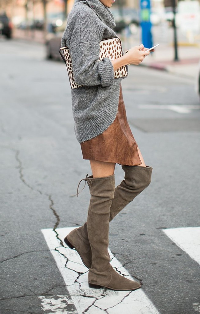suede skirt and boots