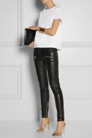 black leather moto pants