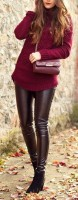 brown leather pants with burgundy sweater