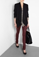 burgundy leather pants and black blazer