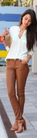 casual chic camel leather pants