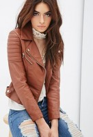 casual chic leather acket and white top