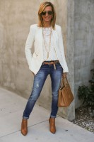 casual chic white blazer and white lace with nude