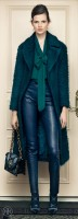 green leather pants and long jacket