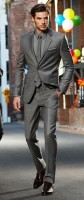 men's monochramatic gray suit
