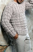 monochramatic look gray chunky sweater