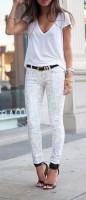 white animal print pants