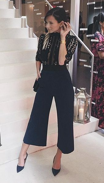 New Years Eve Outfit, black lace jumpsuit
