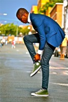 blue tuxedo and green converse