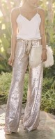 cream sequin pants