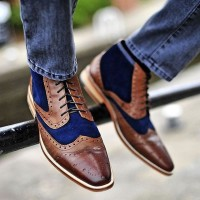men's boots brogues brown with blue suede