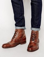 men's boots lace up with cuffed jeans asos