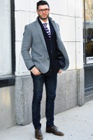 men's effortless stylish denim with navy and then gray coat
