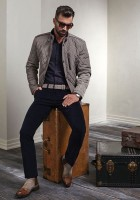 men's effortless stylish gray jacket and navy pants