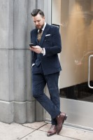 men's navy suit with boots