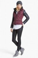workout gear black leggings and maroon jacket wedge sneakers