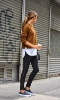 workout gear caramel sweater and leather leggings
