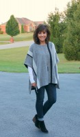 denim, wedge boots and poncho