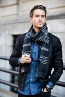 men's wrap around scarf in plaid with denim shirt