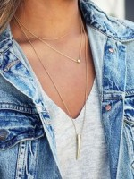 necklace layers with denim jacket
