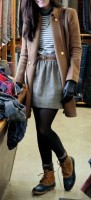 women's winter skirt, jacket, tights and snow boots