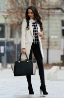 women's work outfit black and white check sweater