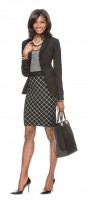 women's work outfit print black skirt and top