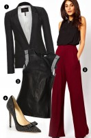 women's work outfit red wide leg pants with black