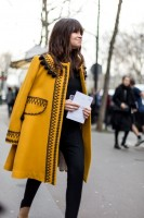 Mustard coat with black poms